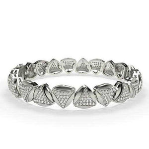 White Gold 14K Sparkling 9.85 Carats Diamonds Men'S Bracelet New Mens Bracelet