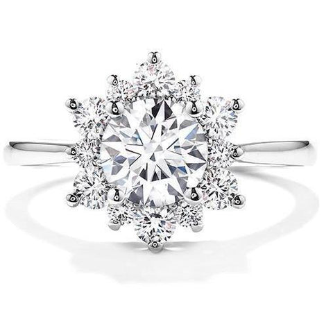 White Gold 14K Sparkling Brilliant Cut 2.90 Ct Diamonds Halo Engagement Ring Halo Ring