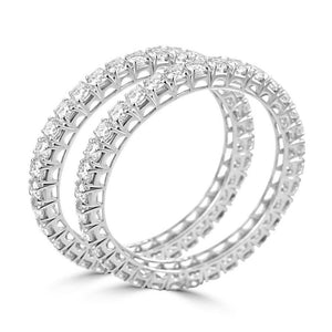 White Gold 14K Sparkling Brilliant Cut Pair Of 25.6 Carats Diamond Women Bangles Bangle