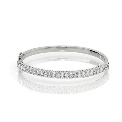 White Gold 14K Sparkling Oval Cut 6.75 Carats Diamonds Women Bangle Bangle