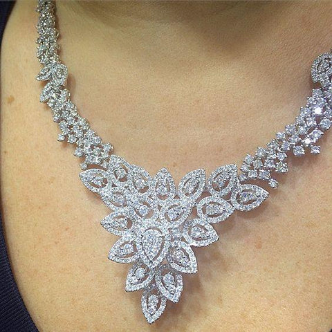White Gold 14K Sparkling Round 38 Ct  Diamonds New Ladies Necklace Necklace