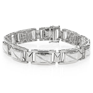 White Gold 14K Sparkling Round Cut Men Diamond Bracelet 3.50 Carats Mens Bracelet