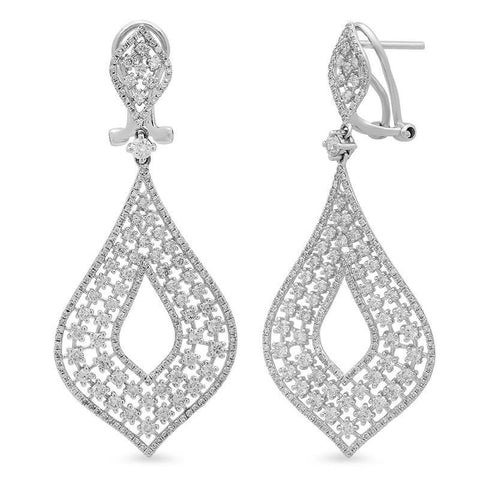 White Gold 14K Women Chandelier Earring Round Diamonds 5 Carats Chandelier Earring