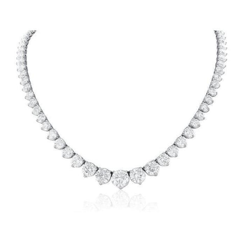 White Gold 14K Women Necklace  Small Round Cut 25.00 Carats Diamonds Necklace