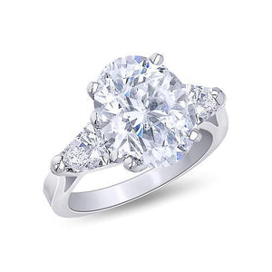 White Gold 18K Oval Cut Center 3.00 Carat Diamond Ring 3-Stone Jewelry Ring Ring