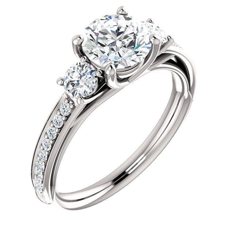 White Gold 2.05 Carat Round Brilliant Diamonds Engagement Ring Jewelry New Solitaire Ring with Accents