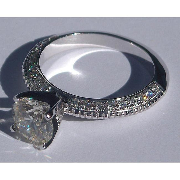 White Gold 2.25 Carat Round Micro Pave Diamonds Engagement Ring Jewelry New Solitaire Ring with Accents