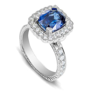 White Gold 4.00 Carats Prong Set Sapphire And Diamonds Wedding Ring Gemstone Ring