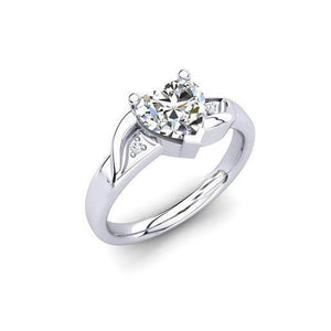 White Gold Big Heart Shape Sparkling 2.35 Ct Diamonds Engagement Ring Engagement Ring