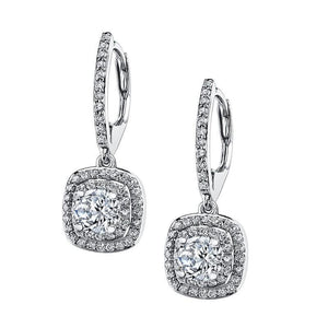 White Gold Dangle Diamonds Earrings 14K F Vs1/Vvs1 2.70 Carats Dangle Earrings