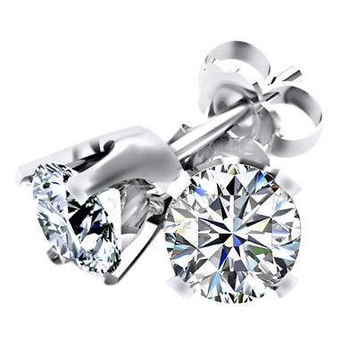 White Gold Diamond Stud Earring 4 Carats Stud Earrings