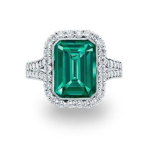 White Gold Green Emerald And Diamond Rong Lady Men Jewelry 6.75 Ct Halo Gemstone Ring Gemstone Ring