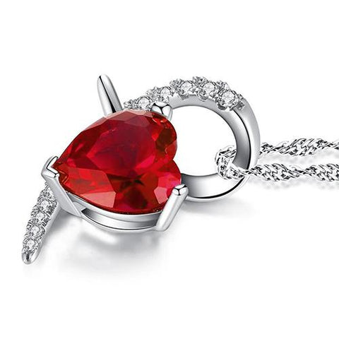 White Gold Heart Shape Pendant Necklace 6.90 Ct Ruby And Diamonds Gemstone Pendant