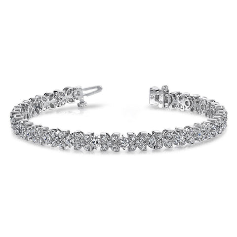 White Gold Jewelry 12 Ct Round Prong Setting Flower Diamond Bracelet Tennis Bracelet