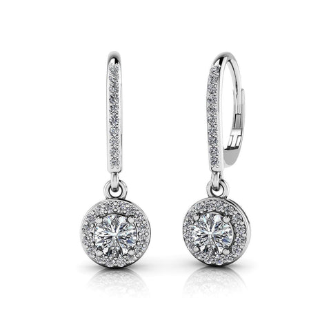 White Gold Lady Dangle Diamonds Earring 14K Prong Set 2.50 Carats Dangle Earrings