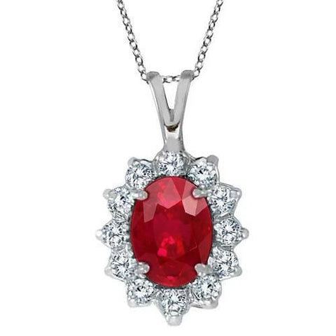 White Gold Prong Set 8.50 Carats Ruby & Diamonds Pendant Necklace Gemstone Pendant