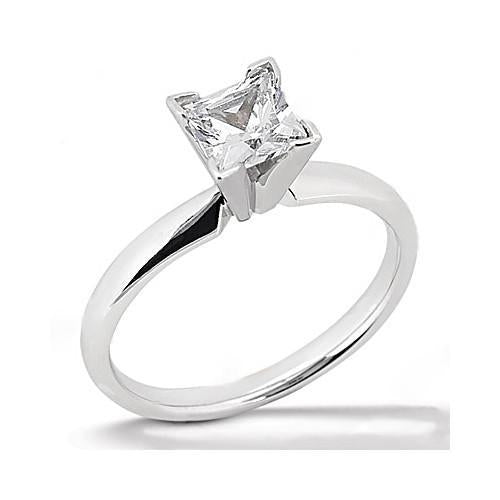 White Gold Solitaire Princess Cut Diamond Ring 2.51 Ct. Solitaire Ring