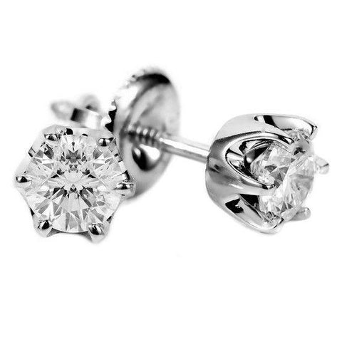 White Gold Solitaire Round Diamond Stud Earring Women Jewelry 2 Ct. Stud Earrings