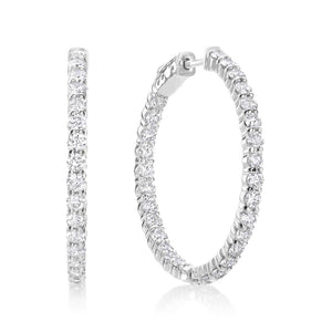 White Gold  Sparkling Brilliant Cut 6.50 Ct Diamonds Hoop Earrings Hoop Earrings