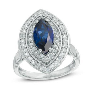 White Gold Sri Lanka Sapphire Diamonds 3 Ct Ring White Gold Gemstone Ring