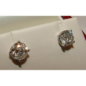 White Gold Stud Earrings 1.05 Carats Round Diamonds Stud Earrings