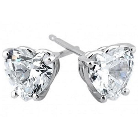 Women 14K White Gold Heart Cut Diamond Stud Earrings 5 Ct Jewelry Stud Earrings
