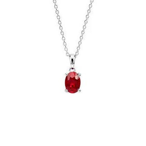 Women 14K White Gold Jewelry Oval Cut Red Ruby Gemstone Pendant Gemstone Pendant
