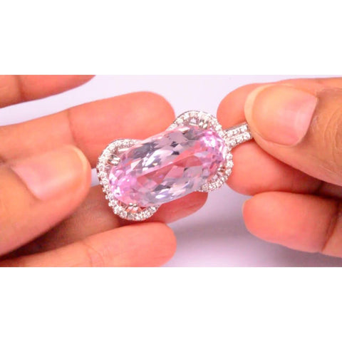 Women 14K White Gold Pink Kunzite With Diamond Necklace Pendant Gemstone Pendant