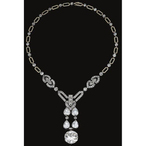Women 18 Ct Sparkling Round And Pear Cut Diamonds Necklace White Necklace