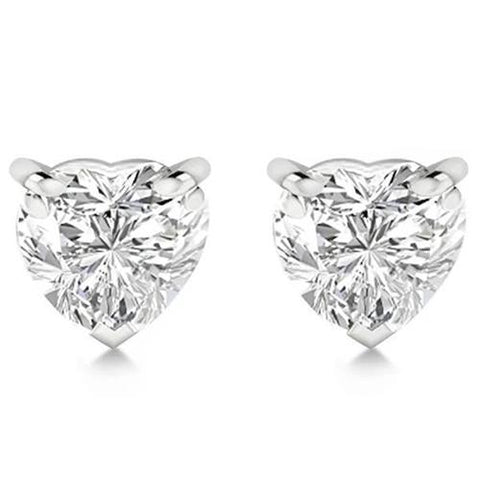 Women 2 Carats Heart Cut Diamond Stud Earrings Solid White Gold 14K Stud Earrings