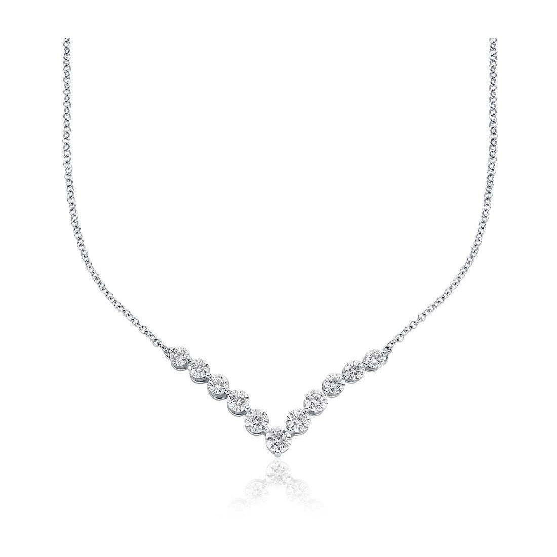 Women 2 Carats Round Cut Sparkling Diamonds Necklace White Gold 14K Necklace