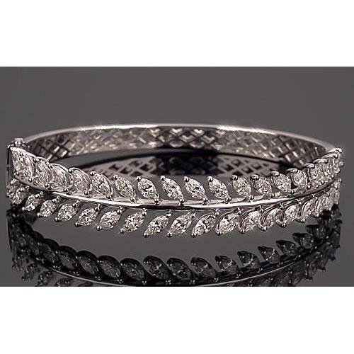 Women Bangle Diamond Marquise Prong Set 12.6 Carats F Vs 1 Bangle