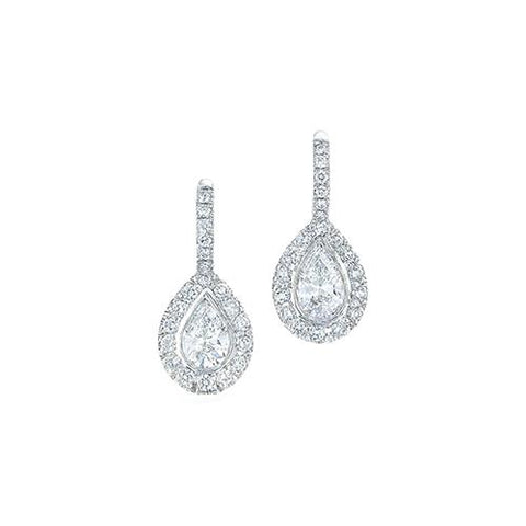 Women Dangle Earrings 3.00 Carats Sparkling Diamonds White Gold Dangle Earrings