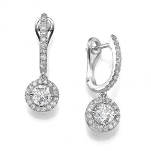 Women Dangle Earrings 3.60 Carats Round Cut Diamonds White Gold 14K Dangle Earrings