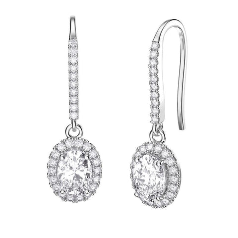 Women Dangle Earrings 5.40 Carats White Gold 14K Dangle Earrings