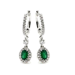 Women Dangle Earrings 5.50 Carats Emerald With Diamonds White 14K Gemstone Earring
