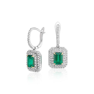 Women Dangle Earrings 6 Ct Emerald With Diamonds White Gold 14K Gemstone Earring