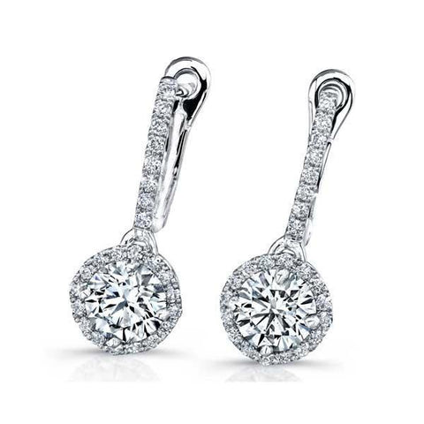 Women Dangle Earrings Round Cut 4.00 Ct. Sparkling Diamonds 14K White Gold Dangle Earrings