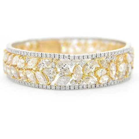 Women Diamond Bracelet 40.50 Carats White & Yellow Gold Prong Set Jewelry Tennis Bracelet