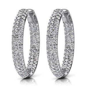 Women Hoop Earrings 10.20 Ct Triple Row Inside Out Diamonds White Hoop Earrings