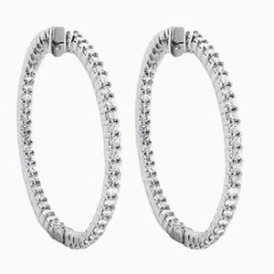 Women Hoop Earrings 4.60 Carats Round Cut Diamonds Gold White 14K Hoop Earrings