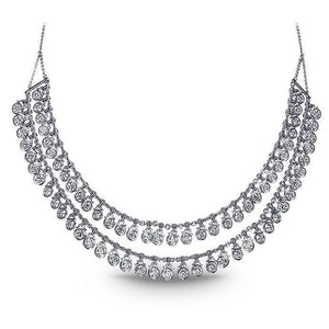 Women Necklace Double Row 5.00 Ct Diamonds White Gold 14K New Necklace