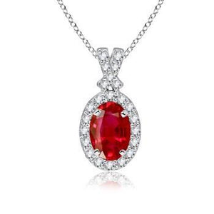 Women Oval Cut Red Ruby With Diamond Pendant White Gold 3.30 Carats Gemstone Pendant