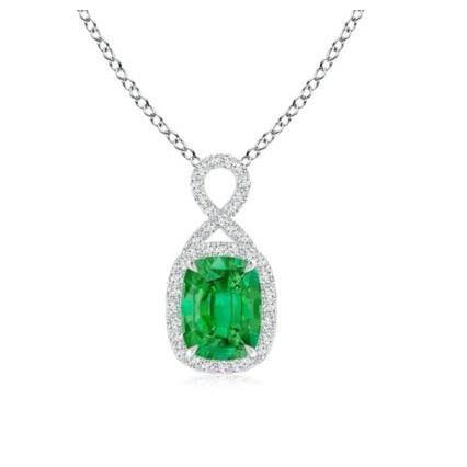Women Pendant Necklace 7.65 Ct. Emerald And Diamonds Gold White 14K Pendant