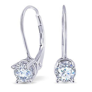 Women Prong Set Round Diamond Leverback Earring 2 Carats White Gold Fine Jewelry Leverback Earrings