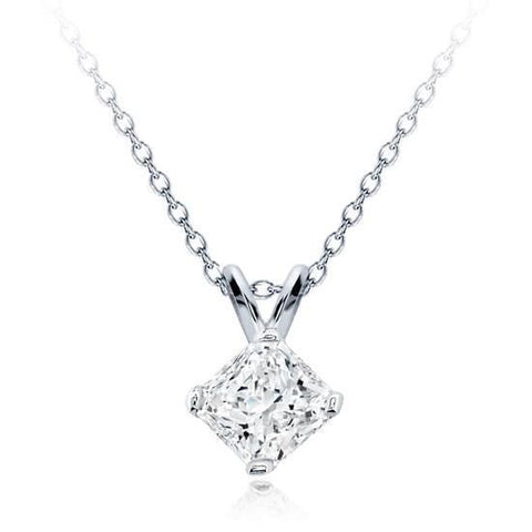 Women Radiant Cut Solitaire Diamond Pendant White Gold Jewelry 1.5 Ct Pendant