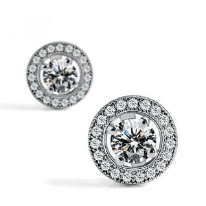 Women Round Halo Diamond Stud Earring White Gold Jewelry 2.35 Ct. Halo Stud Earrings