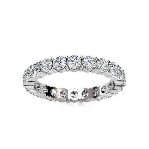 Women Round Prong Set Diamond Eternity Engagement Band Gold 14K 5 Carats Eternity Band