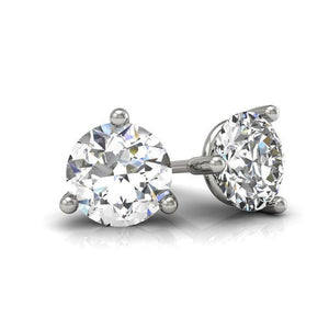 Women Stud Earring 2 Carats 3 Prong Setting Round Diamond Solitaire White Gold 14K Stud Earrings