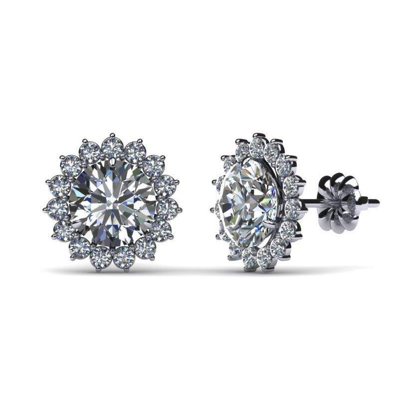 Women Stud Earring 2.50 Ct. Round Cut Halo Diamond Solid White Gold Halo Stud Earrings